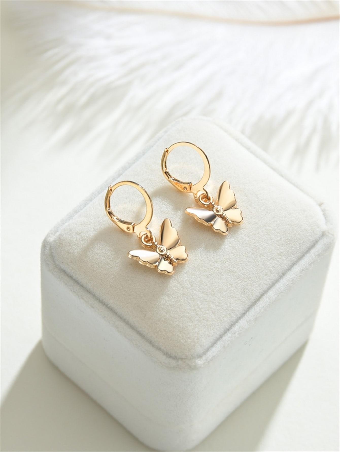 Butterfly Round Drop Earrings thumbnail