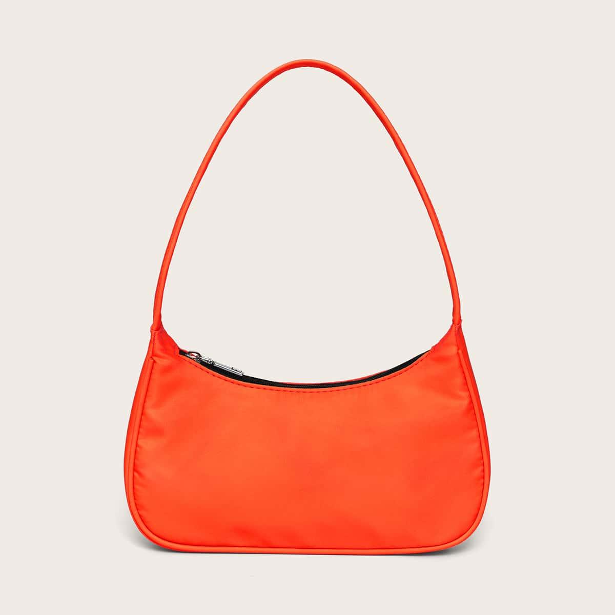 Неоновая оранжевая сумка-багет