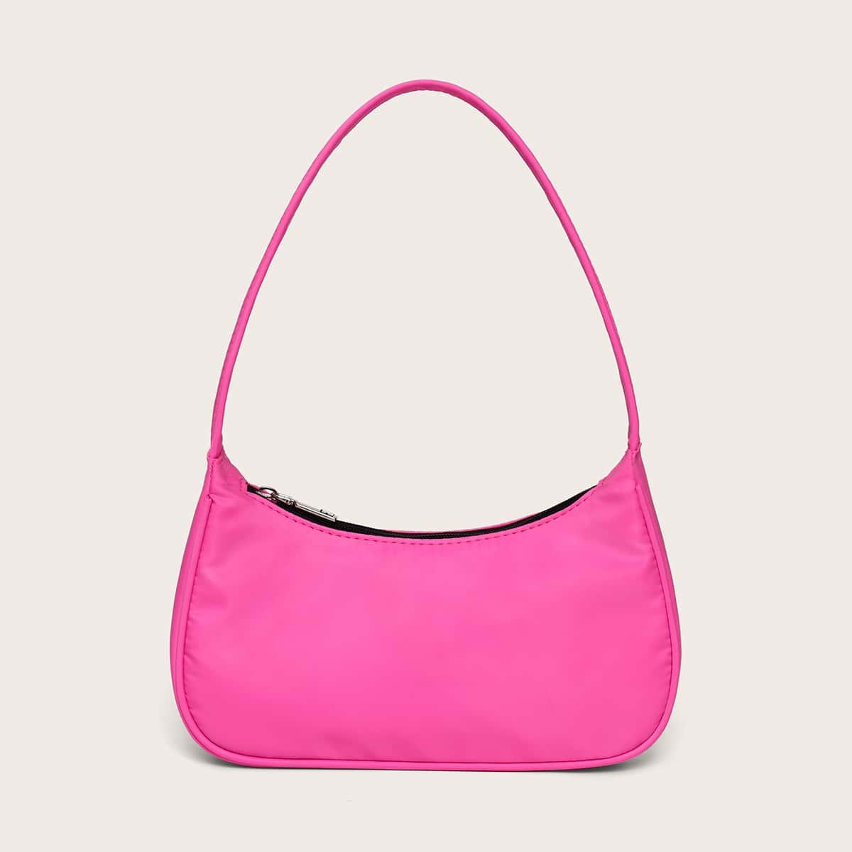 Неоновая ярко-розовая сумка-багет