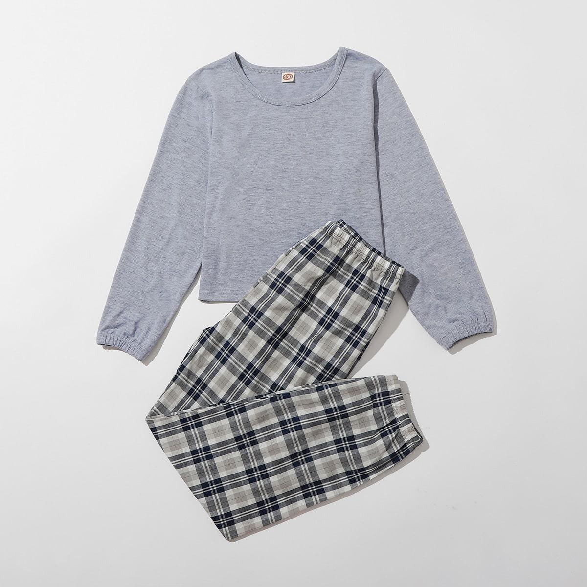 шотландка Повседневный Домашняя одежда для девочек