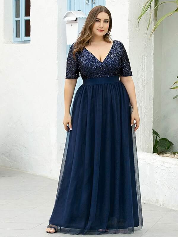 Vestidos Tallas Grandes Malla En Contraste Liso Azul Marino Glamour Moda De Mujer Shein Mexico