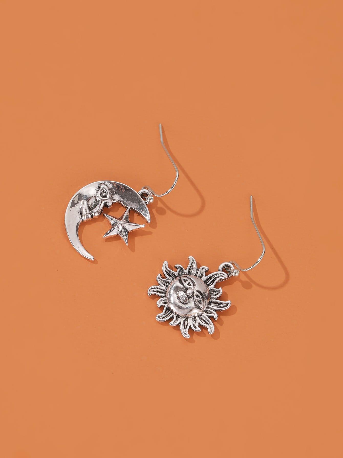 Moon & Sun Charm Drop Earrings thumbnail