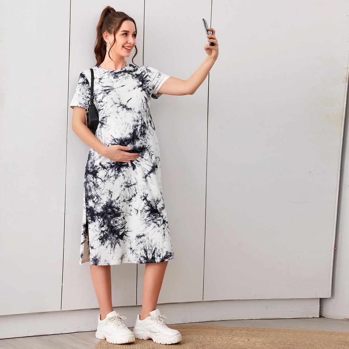 Платье-футболка для беременных с разрезом