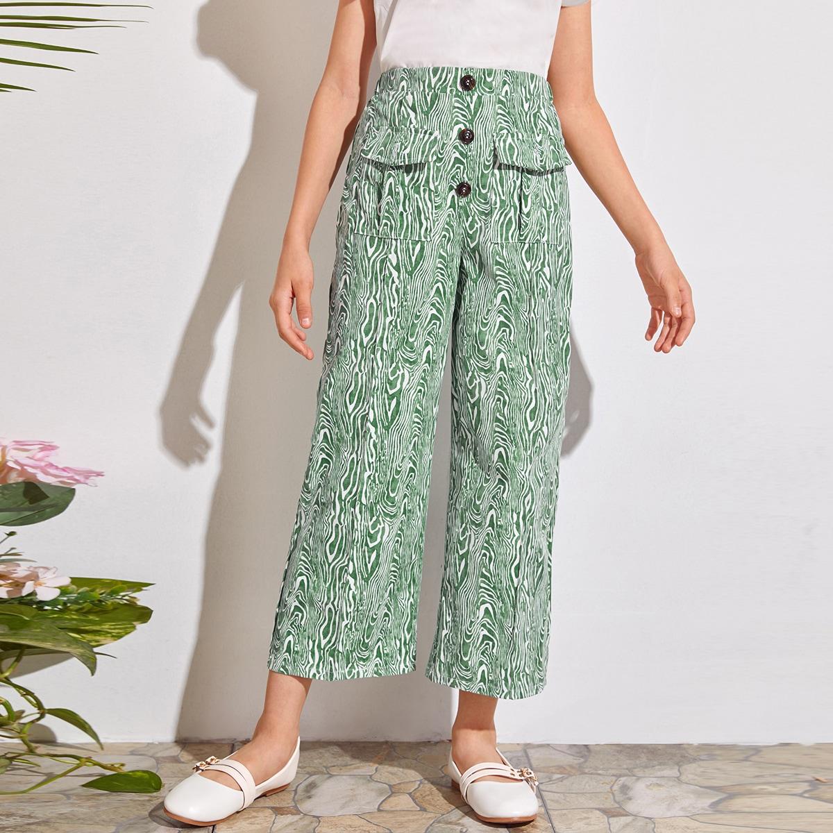 Широкие брюки с карманом и принтом для девочек