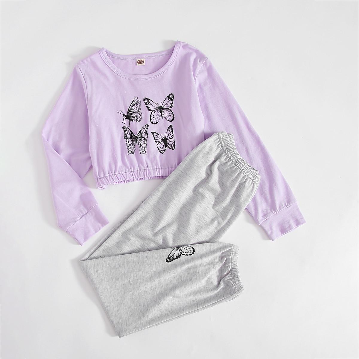 Животный принт милый Домашняя одежда для девочек