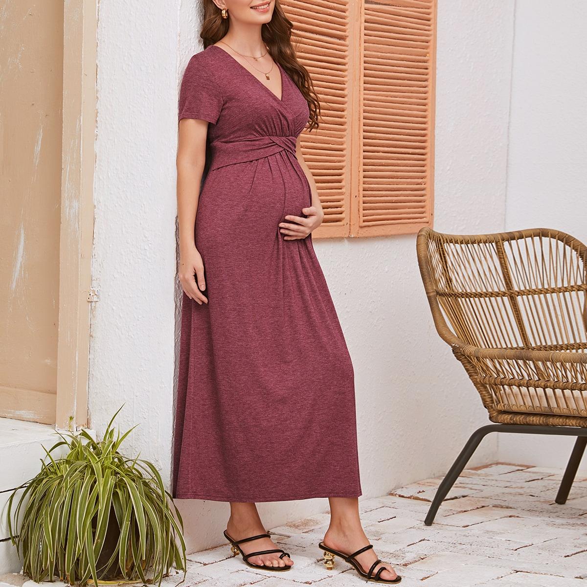 Однотонное платье для беременных