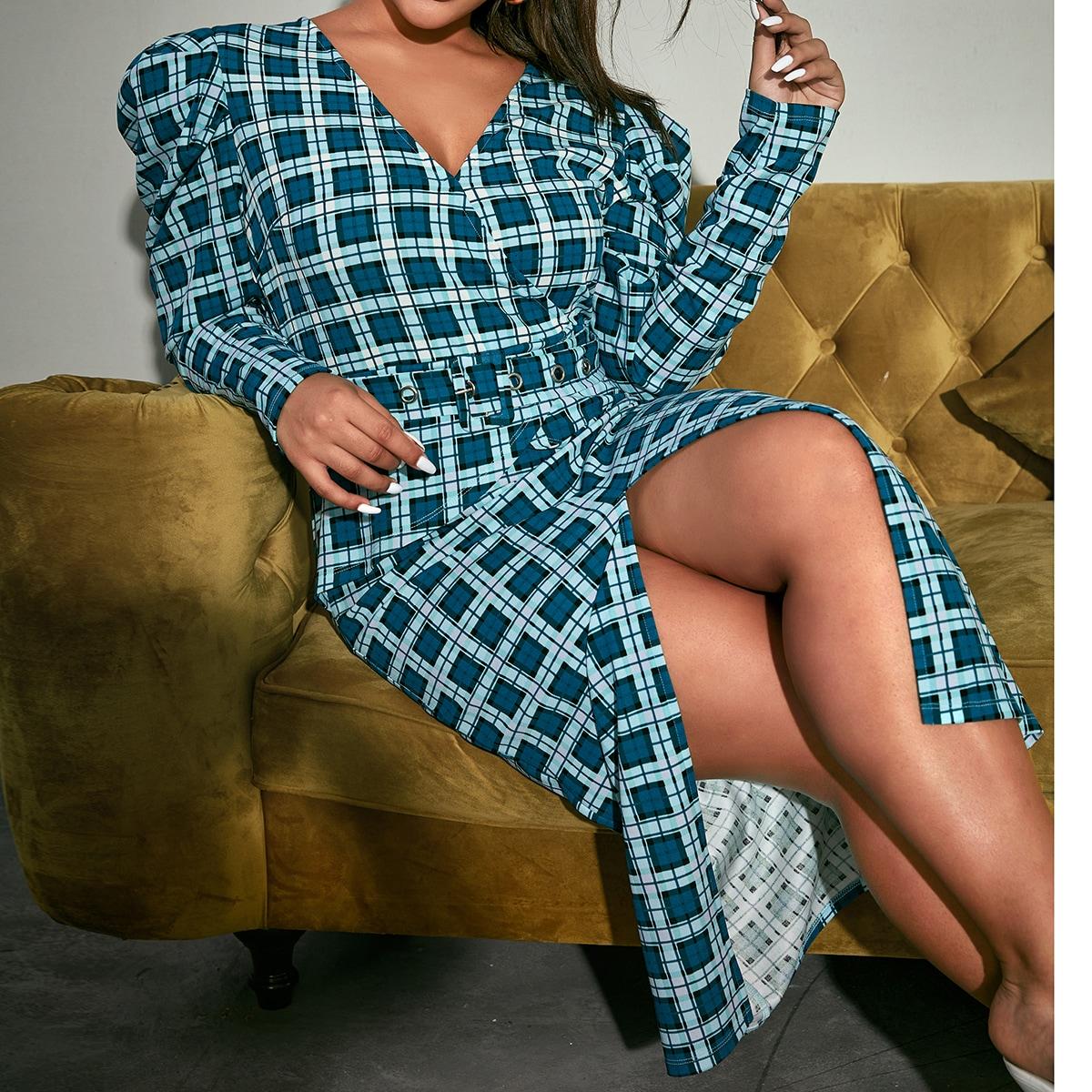 Платье 2 в 1 размера плюс с поясом и разрезом