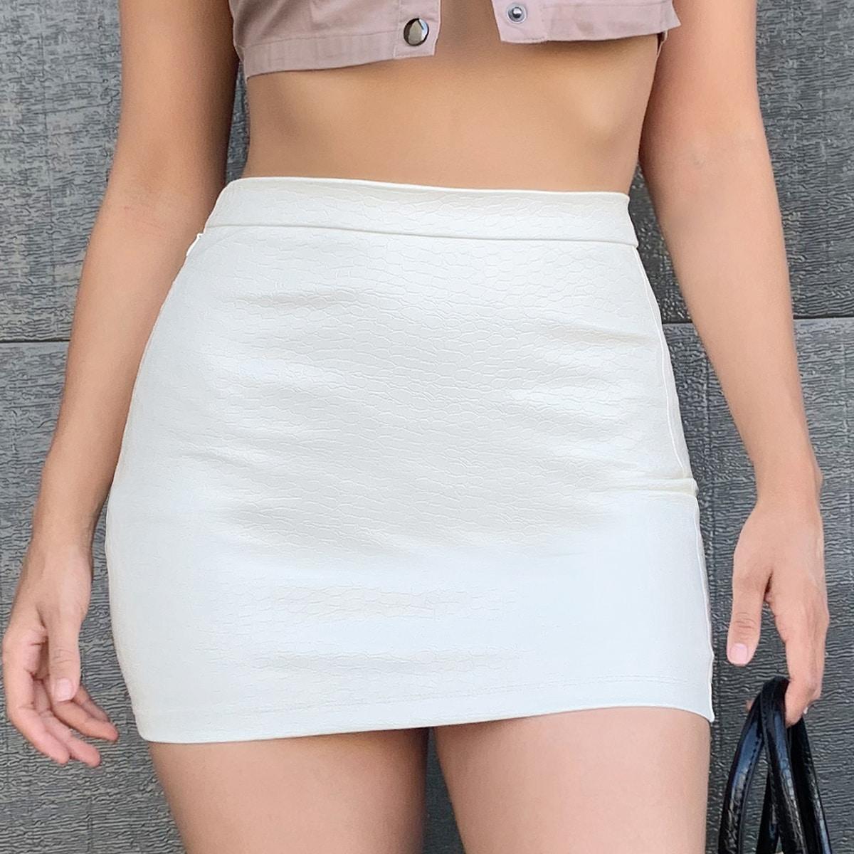 Облегающая юбка мини из искусственной кожи