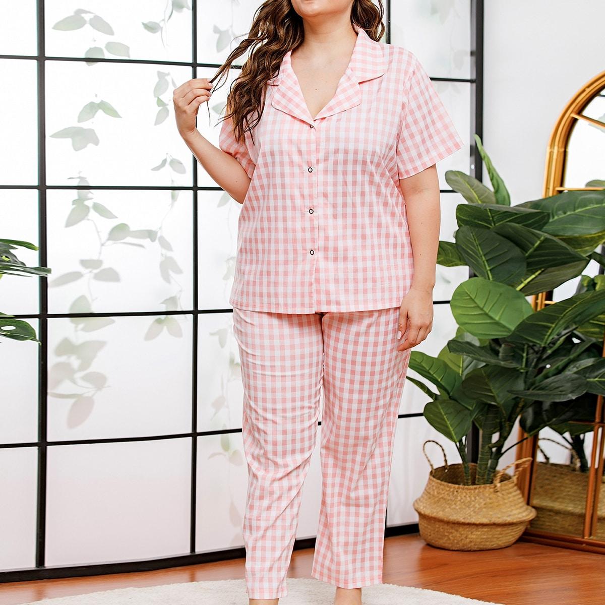 shein Veel kleurig Schattig Carré Grote maten pyjama sets