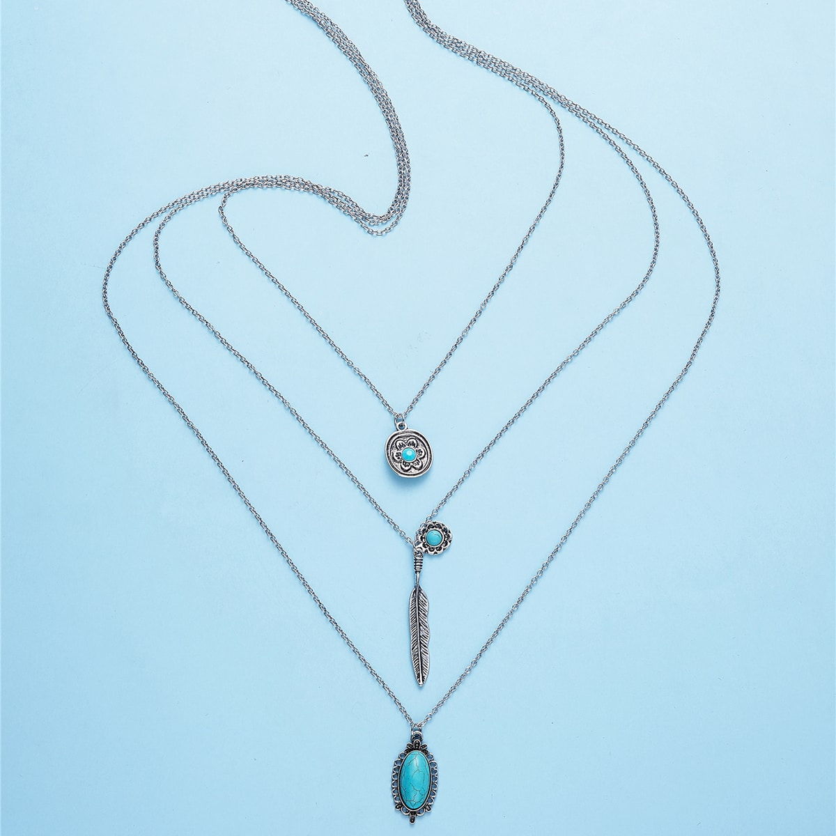 Mehrschichtige Halskette mit Türkis Dekor