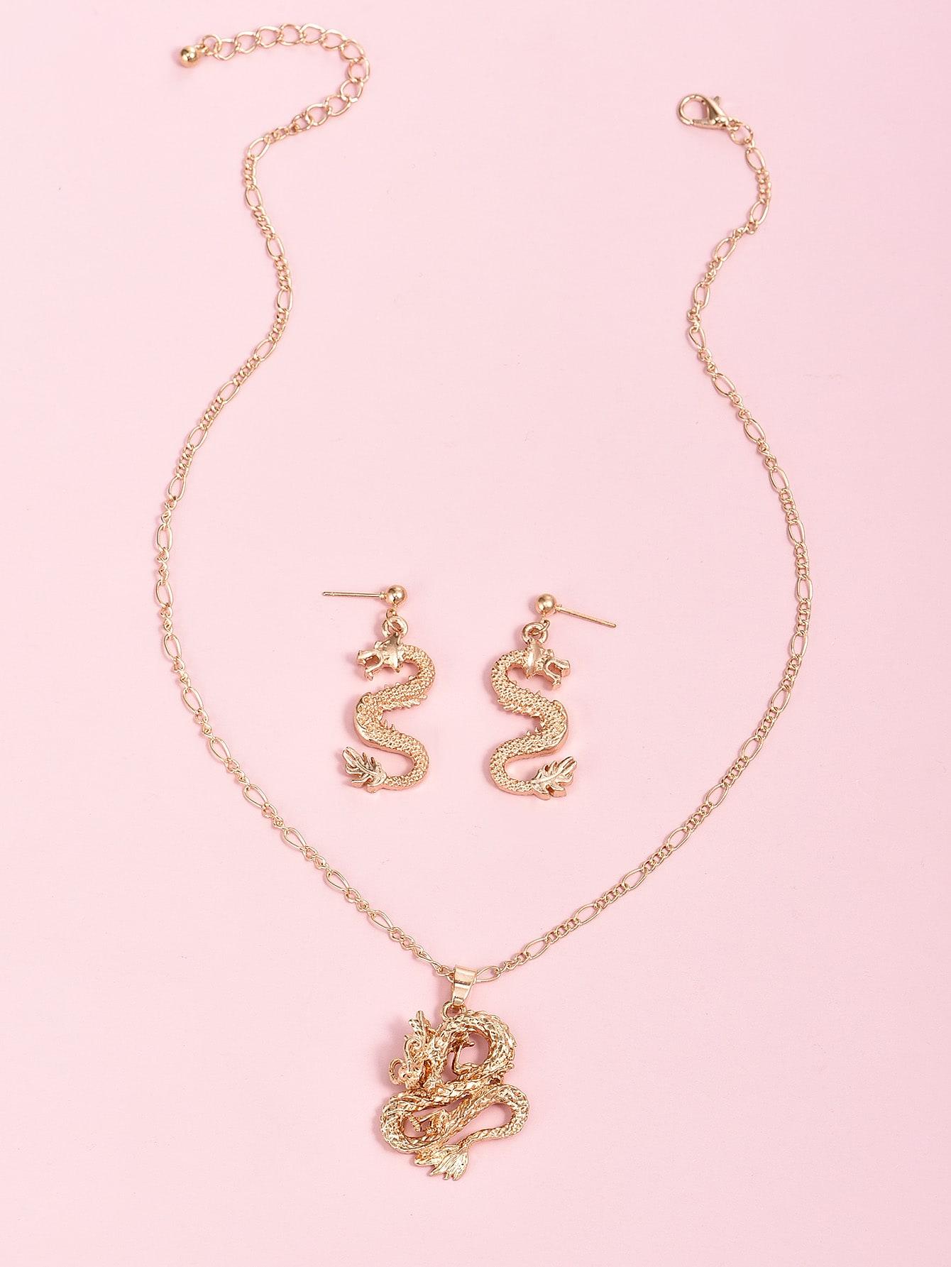 3pcs Dragon Charm Jewelry Set thumbnail
