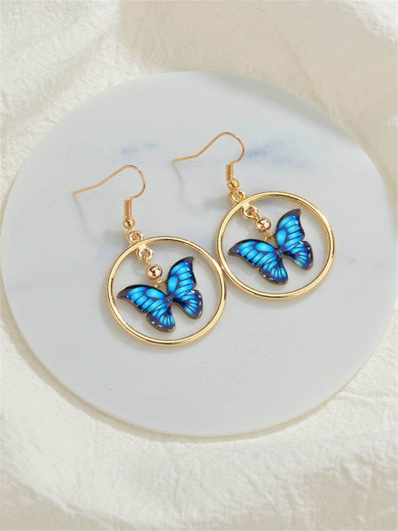 Butterfly Charm Drop Earrings thumbnail