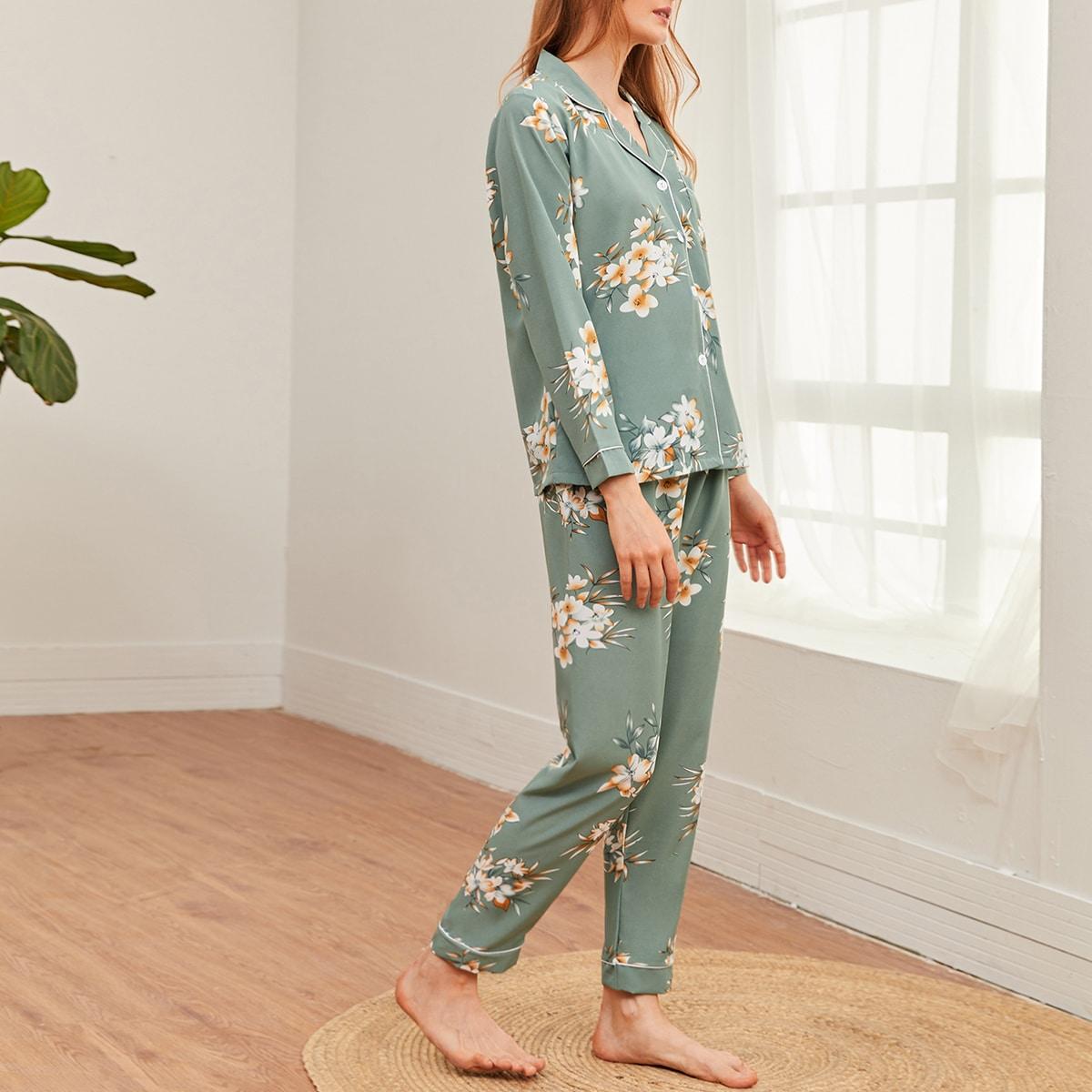 Мятно-зеленый с карманами Цветочный принт Элегантный Ночная пижама