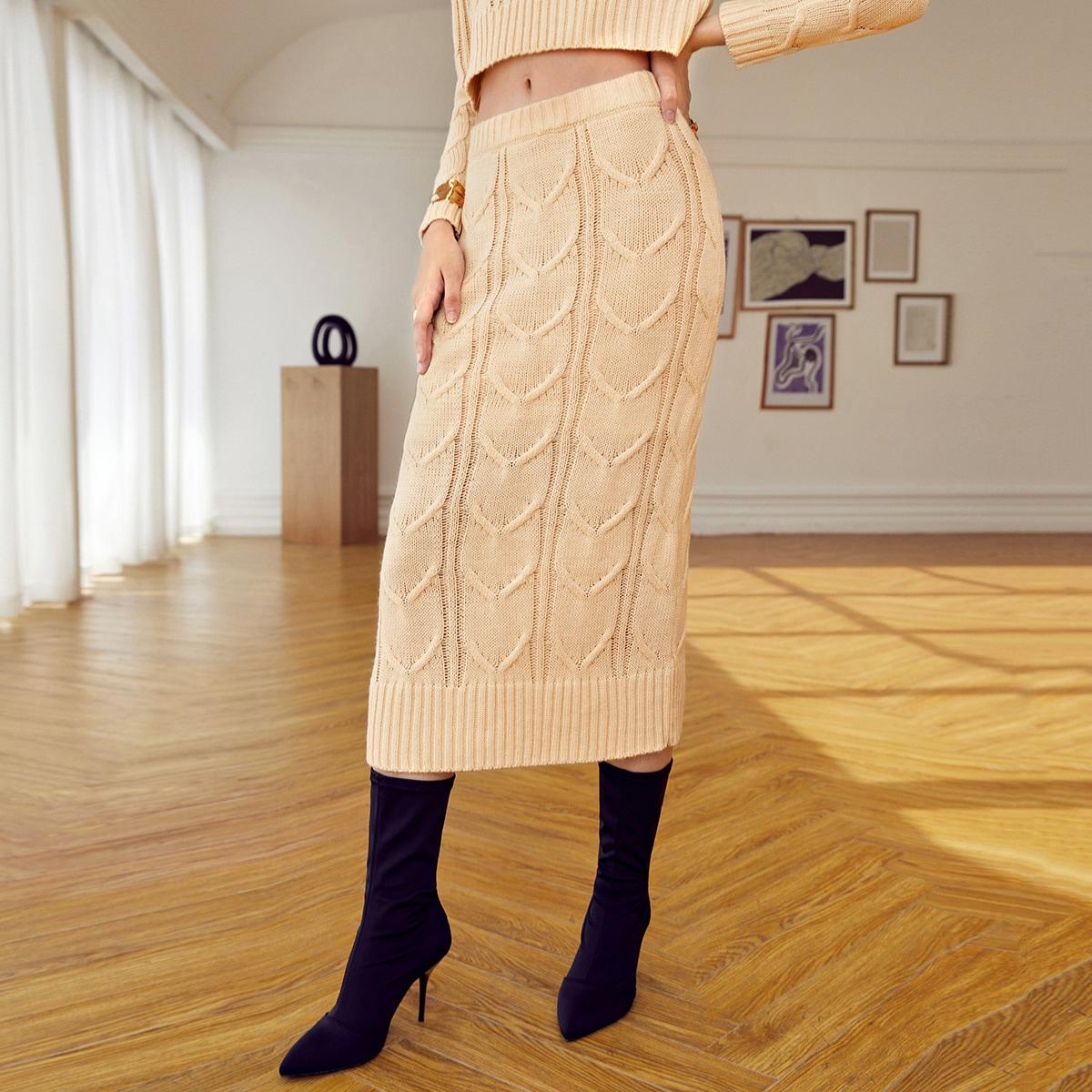 Текстурированные вязать свитер юбка