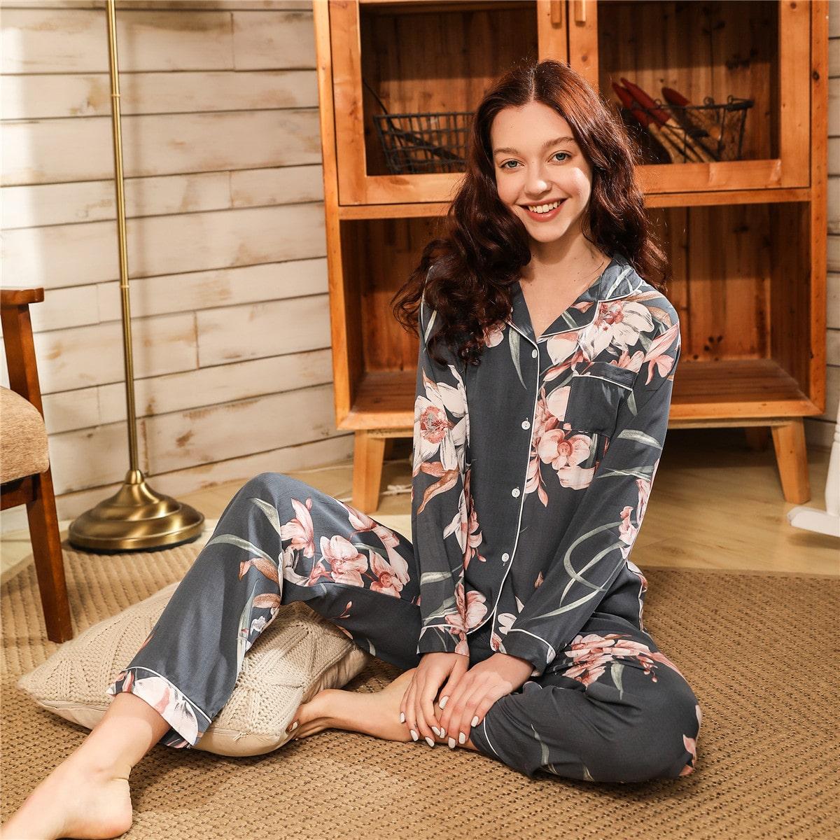 Пижама с цветочным принтом и воротником-лацканом