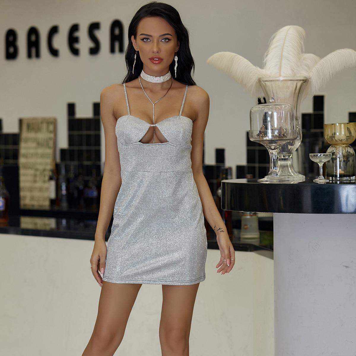 Cut-out Zip Back Glitter Cami Dress