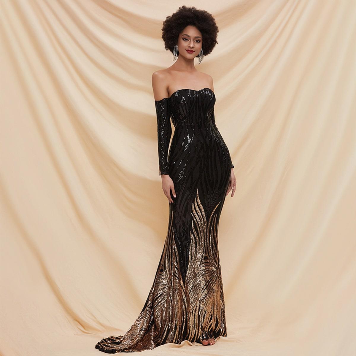 контрастное блестящее платье-русалка с открытыми плечами