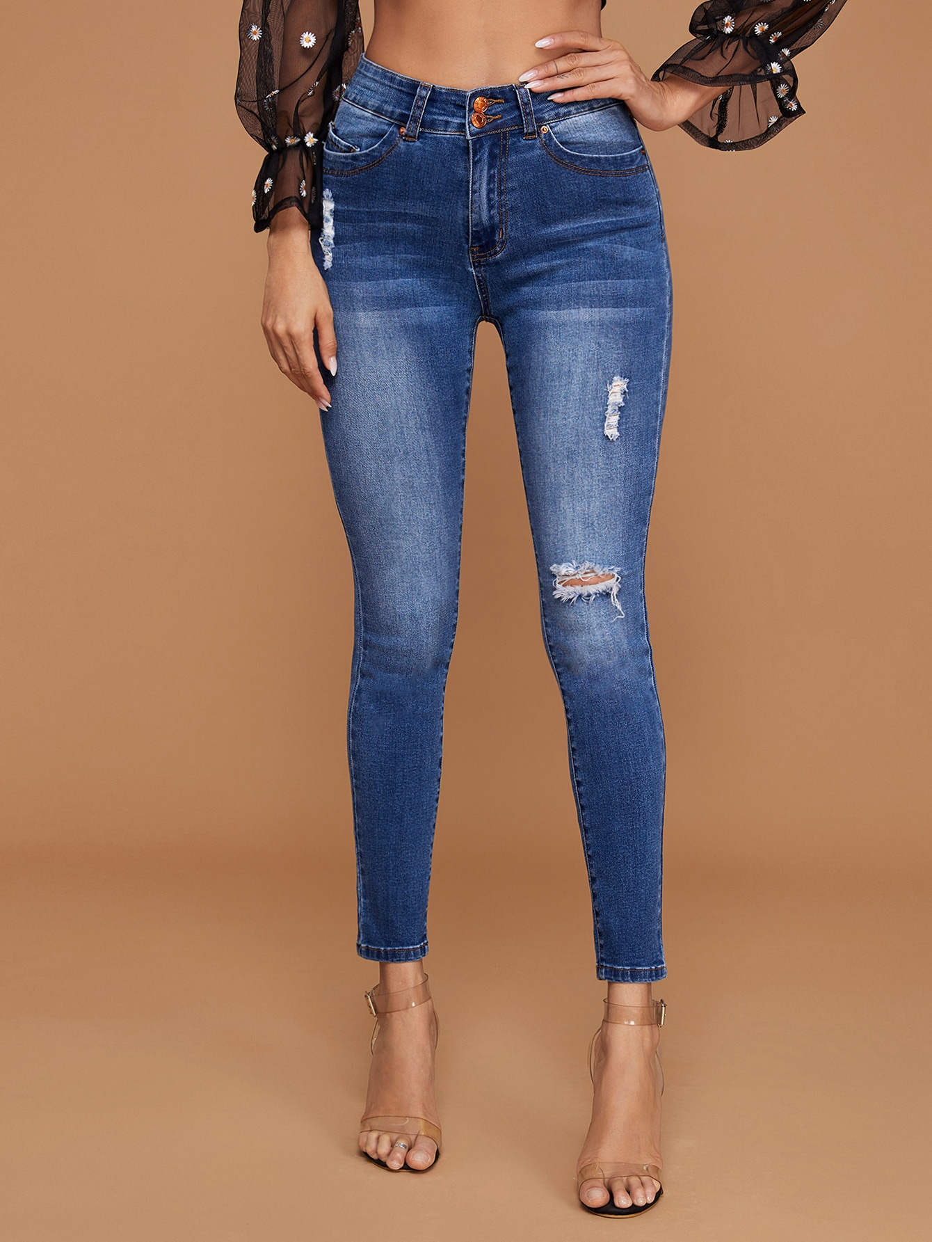 High-Waisted Bleach Wash Ripped Skinny Jeans thumbnail