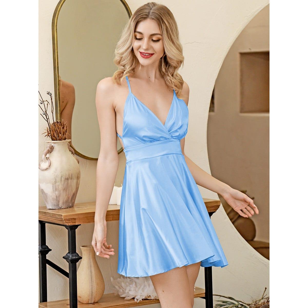 HouseOfChic атласное платье на бретелях с открытой спиной