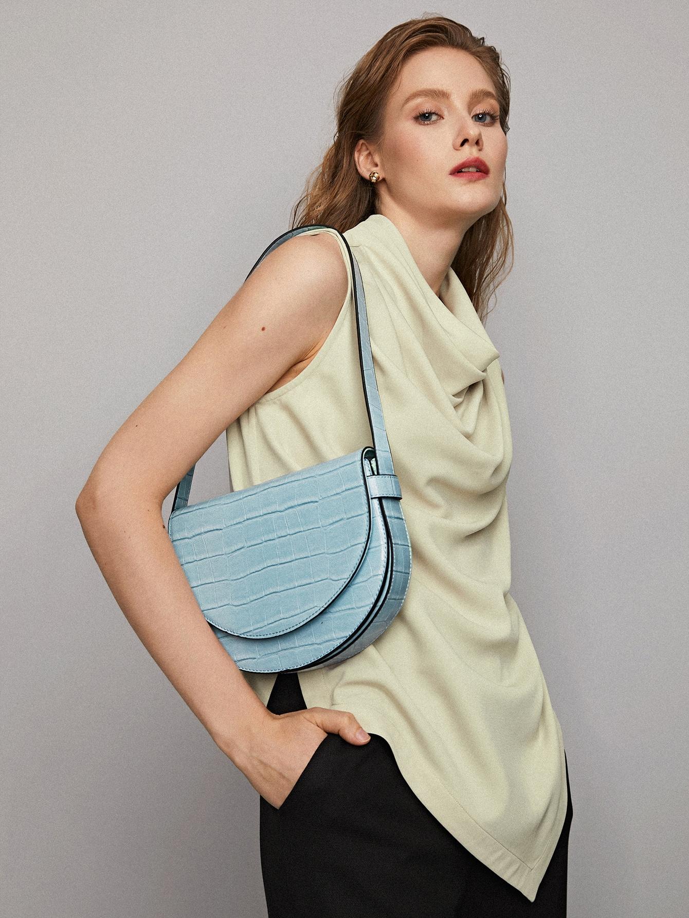 croc embossed flap shoulder bag