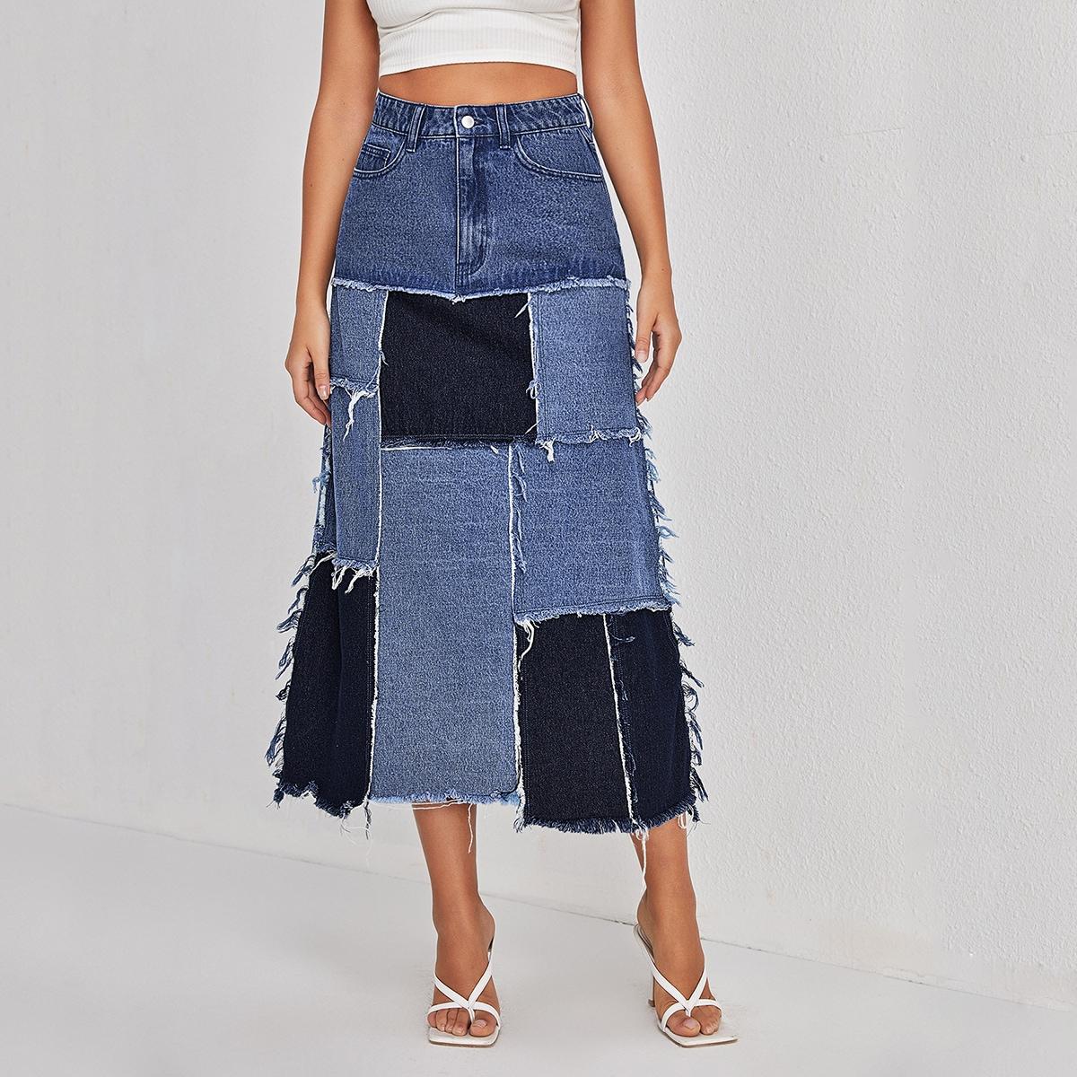 Контрастная джинсовая юбка