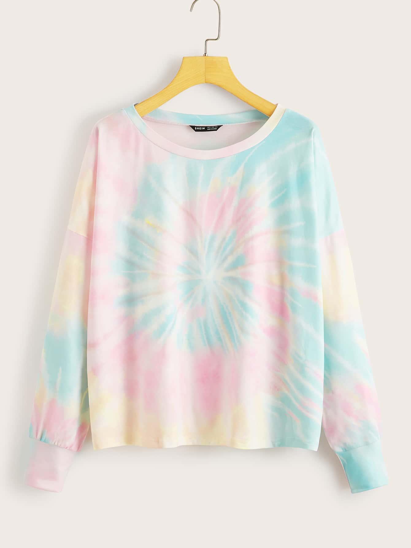 drop shoulder tie dye sweatshirt