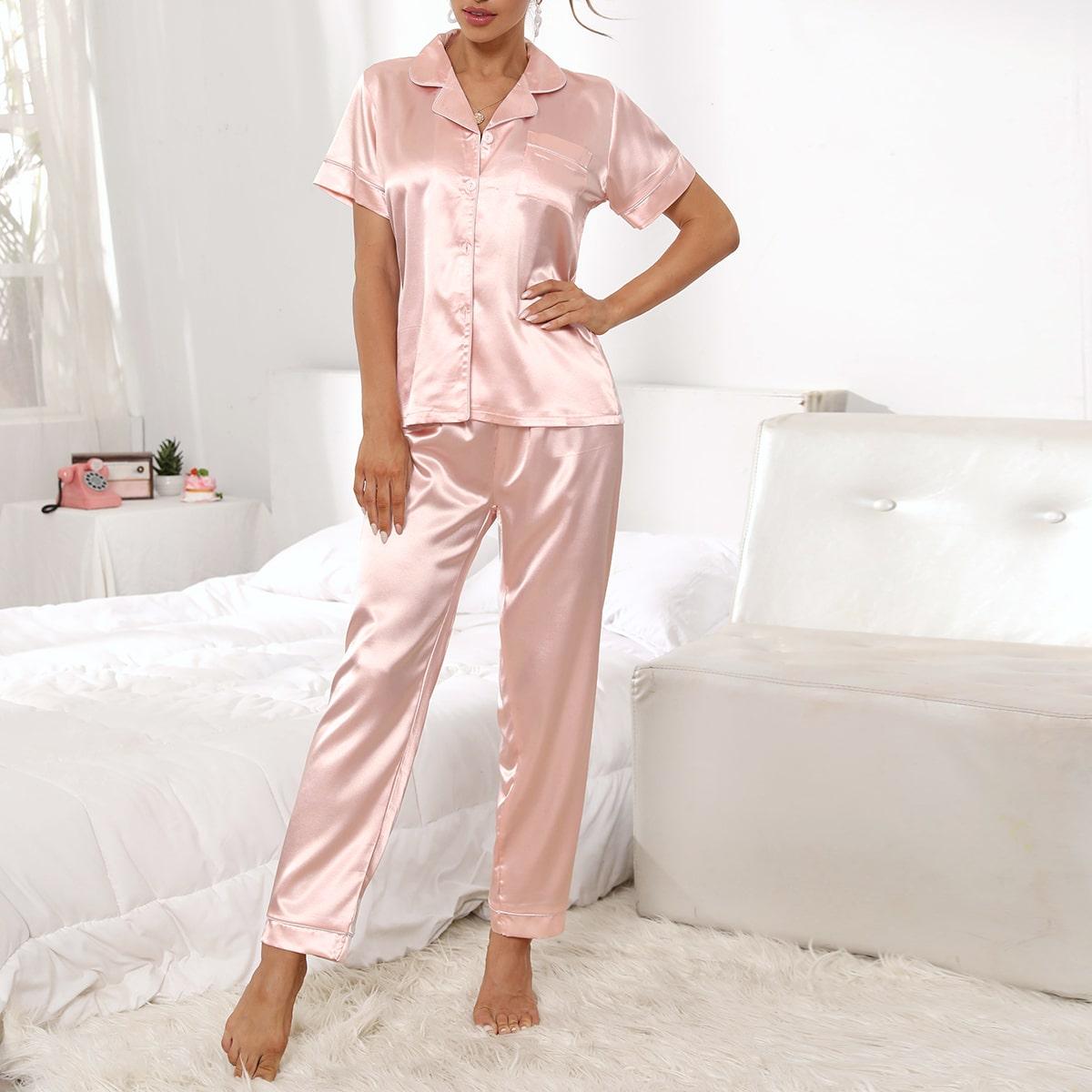 Нежний Розовый с карманами Элегантный Ночная пижама