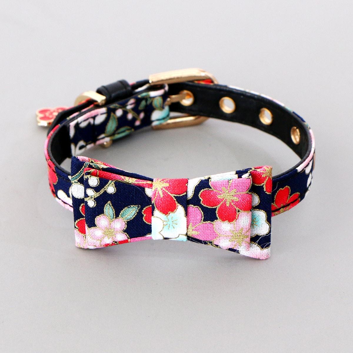 1 Stück Katzenhalsband mit Blumen Muster