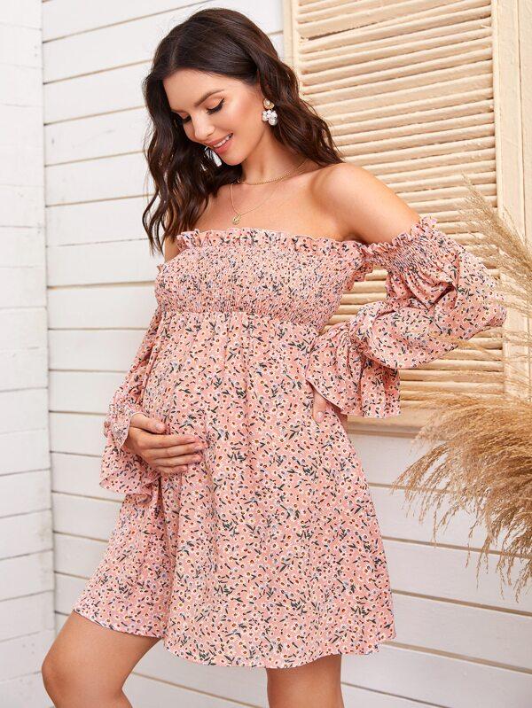 Maternidad Vestido Floral De Margarita Fruncido De Puno Fruncido De Hombros Descubiertos Fruncido Moda De Mujer Shein Mexico