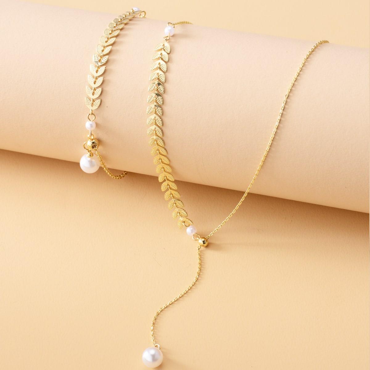 2 Stücke Halskette mit Kunstperlen Dekor & Armband