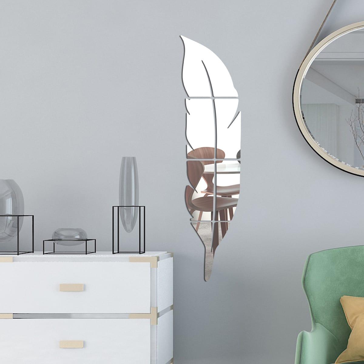 Стикер стены поверхности зеркала в форме пера 6шт