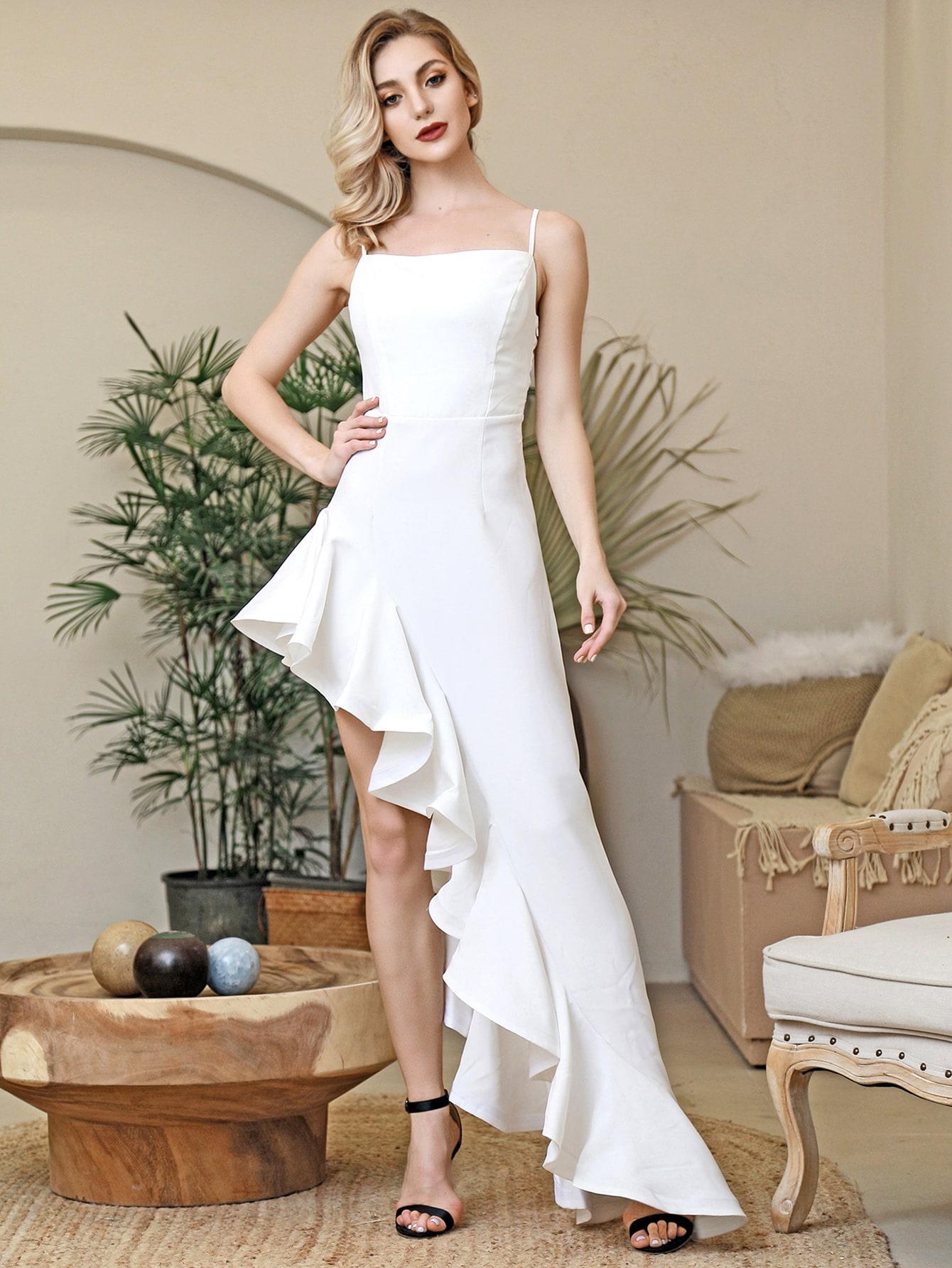 Asymmetrical Ruffle Trim Cami Dress thumbnail