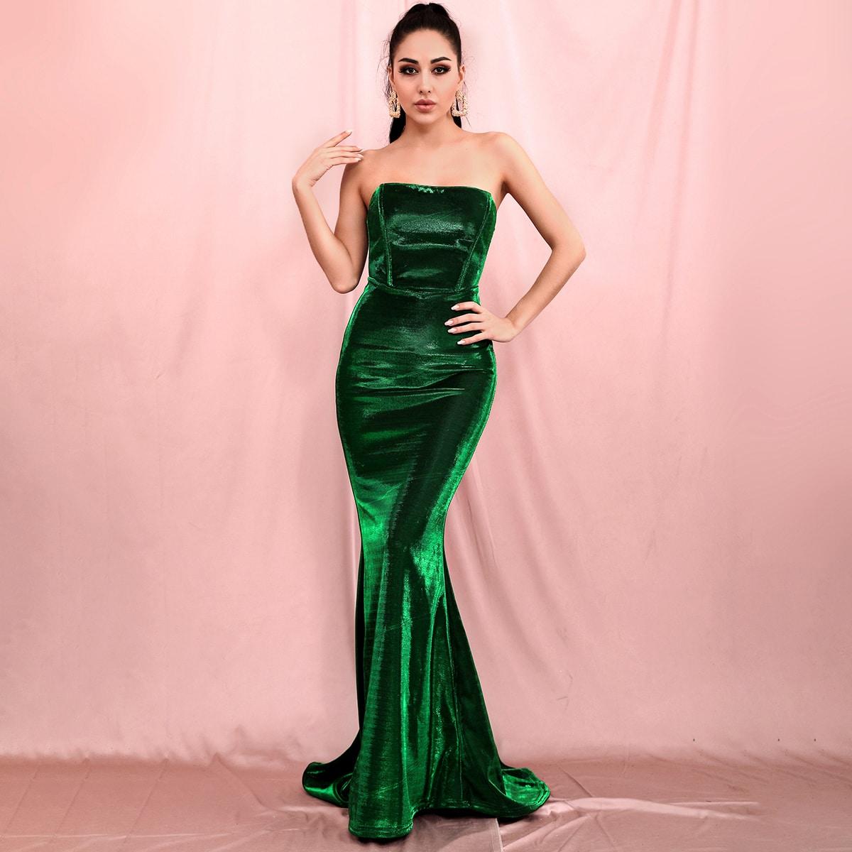 Бархатное платье-русалка с молнией сзади
