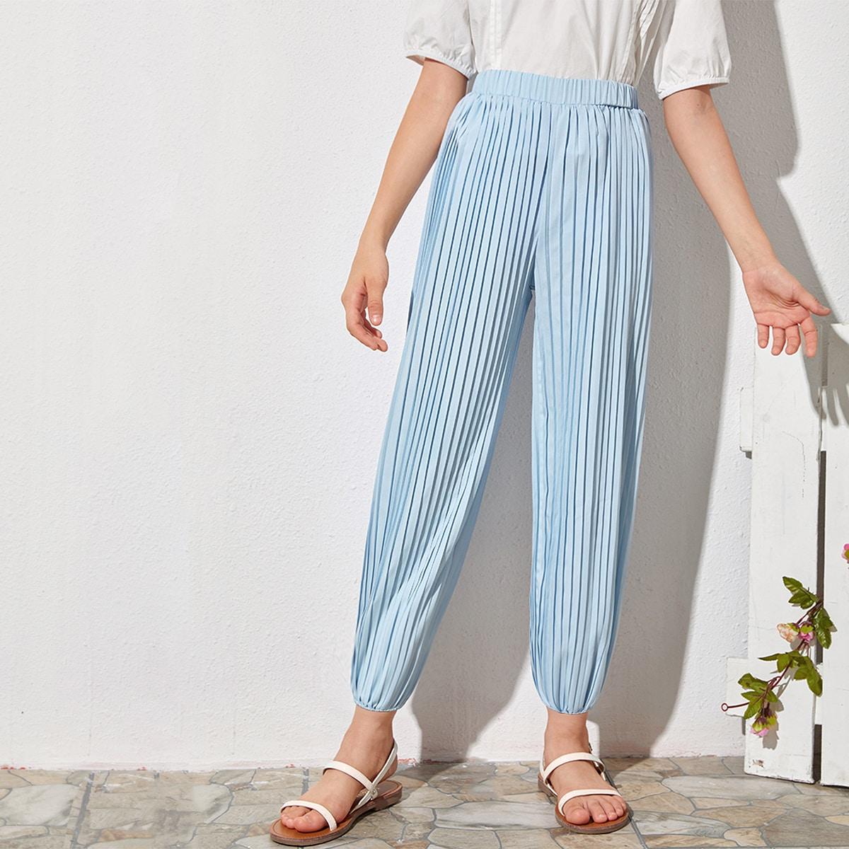 Плиссированные брюки с эластичной талией для девочек