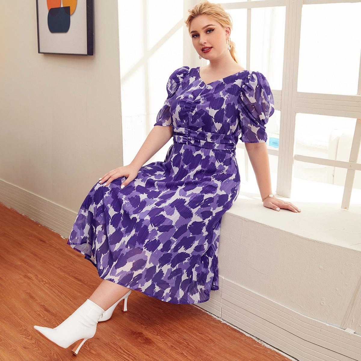 Разноцветное платье размера плюс с пышным рукавом и складкой