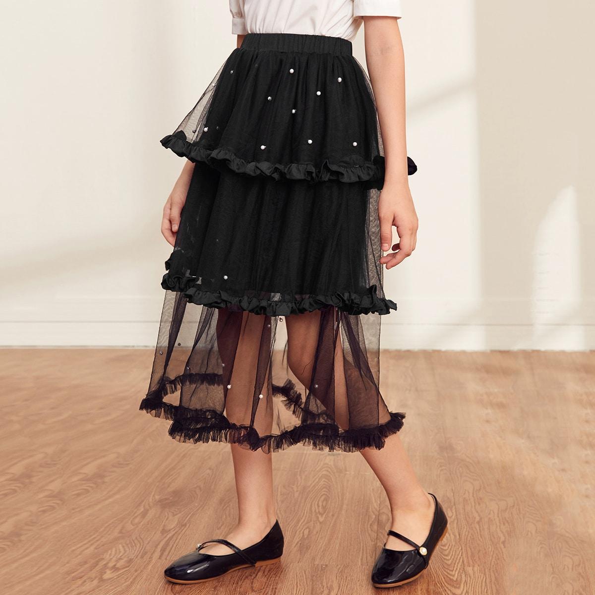 Сетчатая юбка с жемчугами для девочек