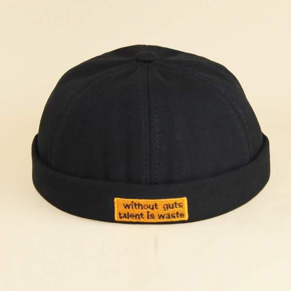 Men Slogan Embroidery Cuffed Beanie, Black
