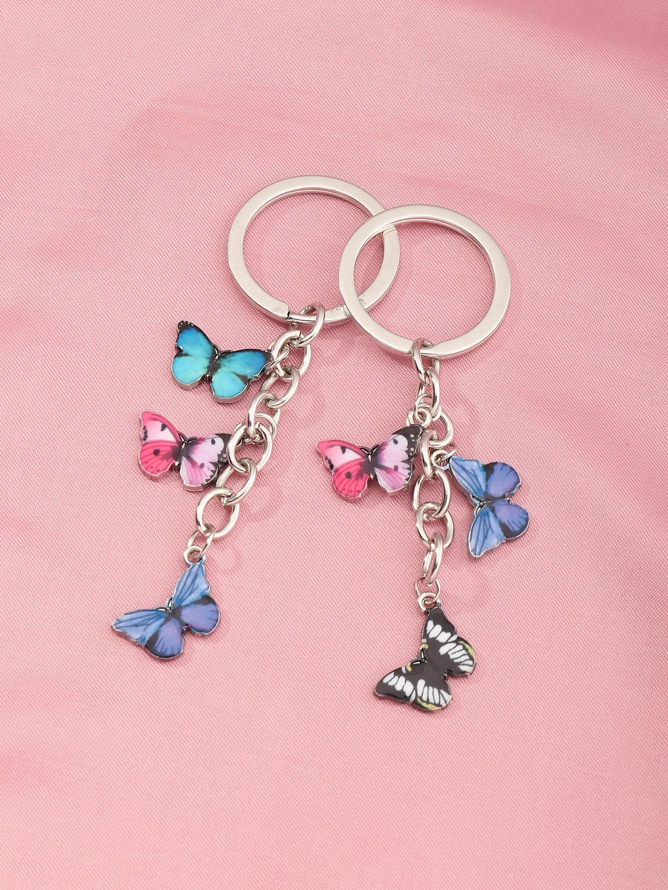 2pcs Butterfly Charm Keychain thumbnail