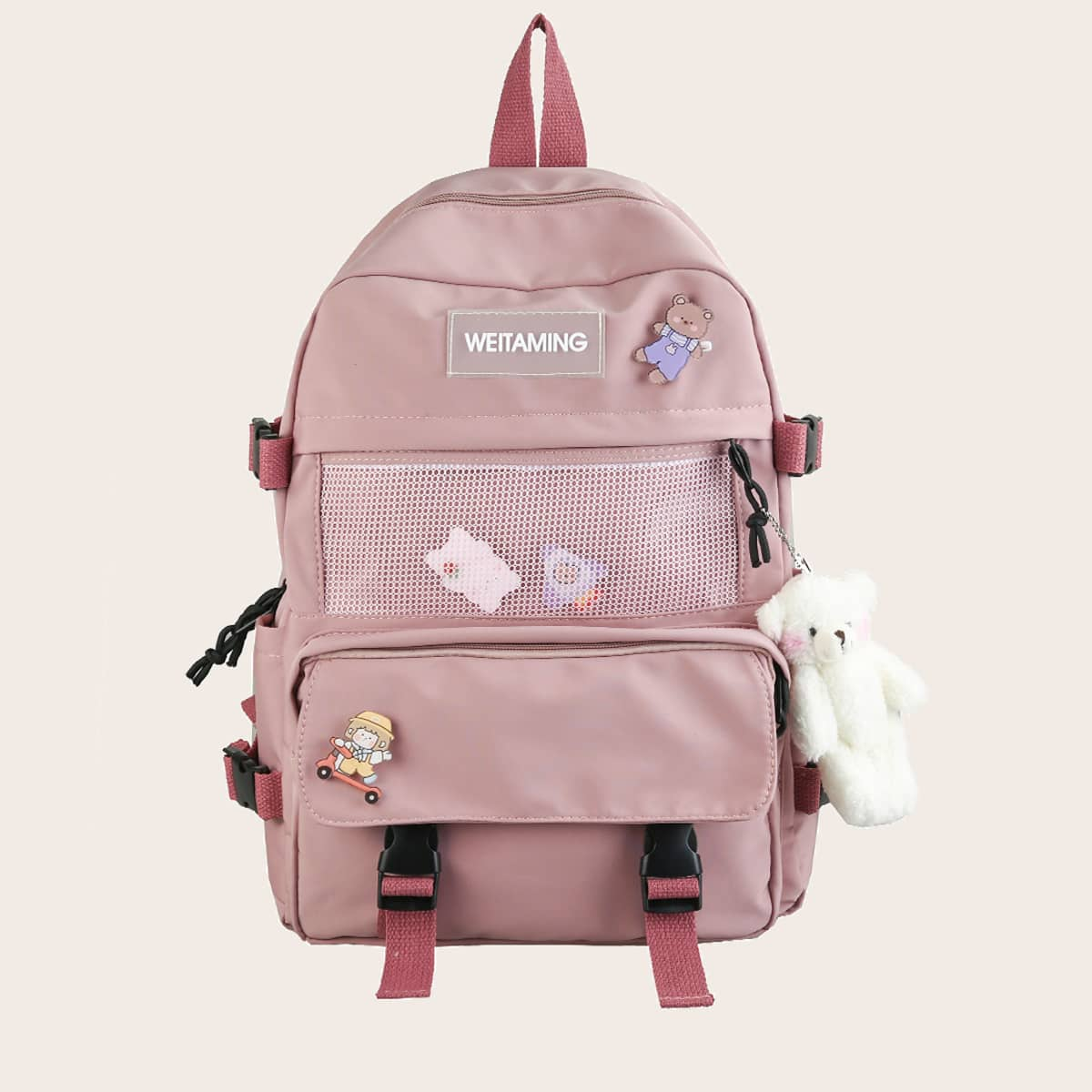 Рюкзак с карманом и подвеской
