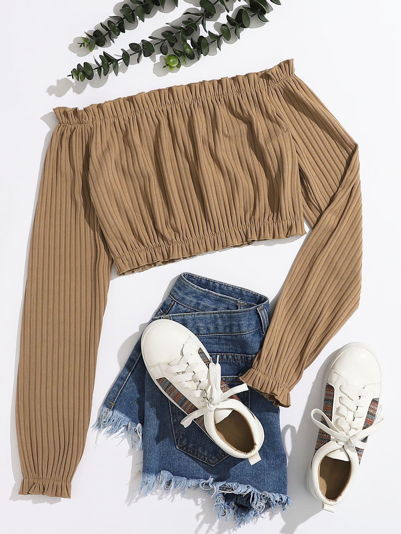 rib-knit frill trim crop bardot top