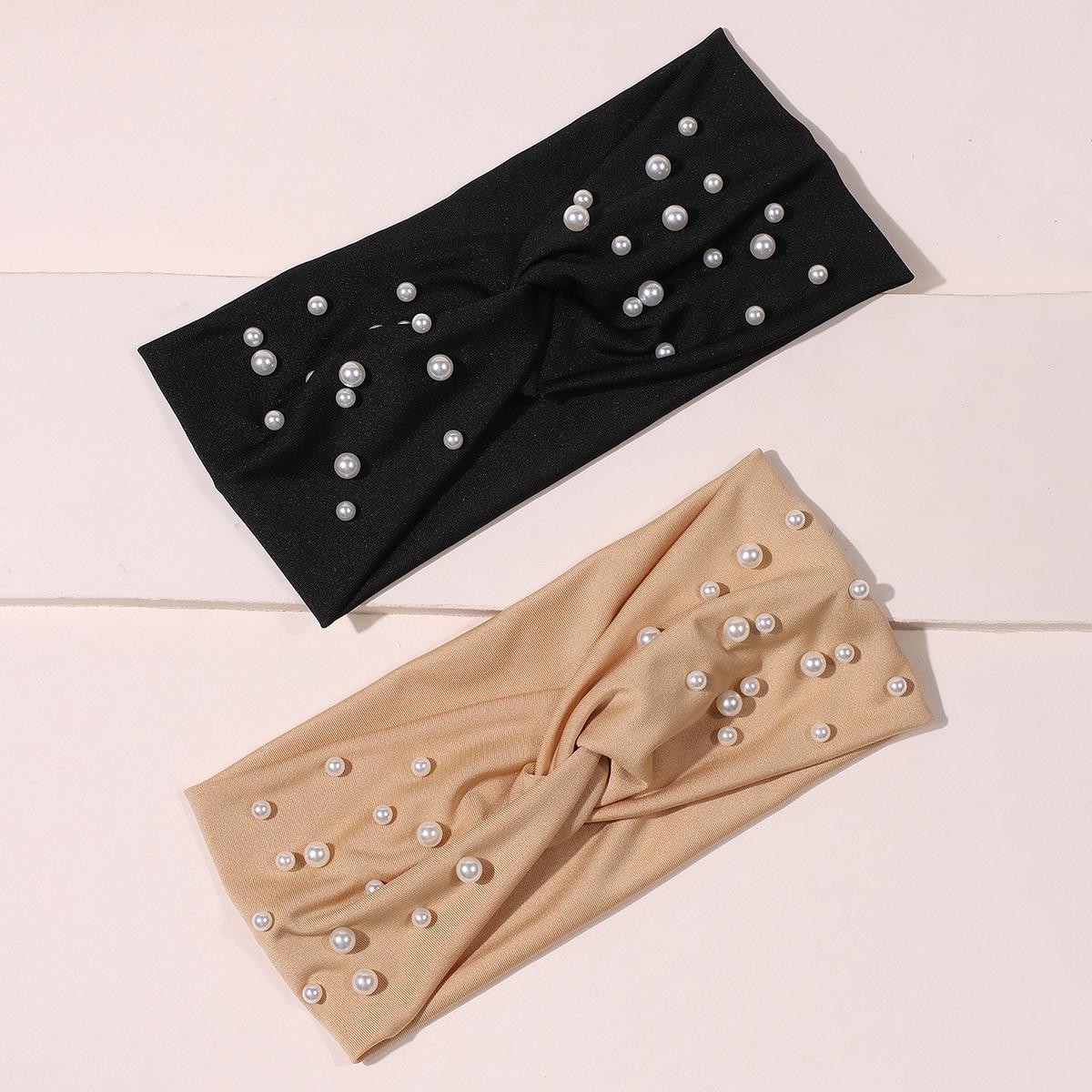 2 Stücke Kopfband mit Kunstperlen Dekor