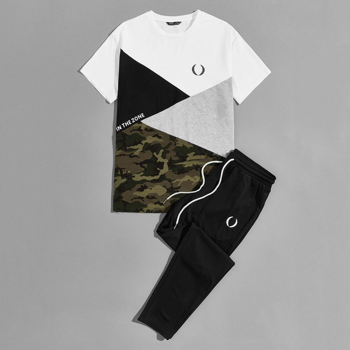Мужской контрастный топ с текстовым принтом и спортивные брюки