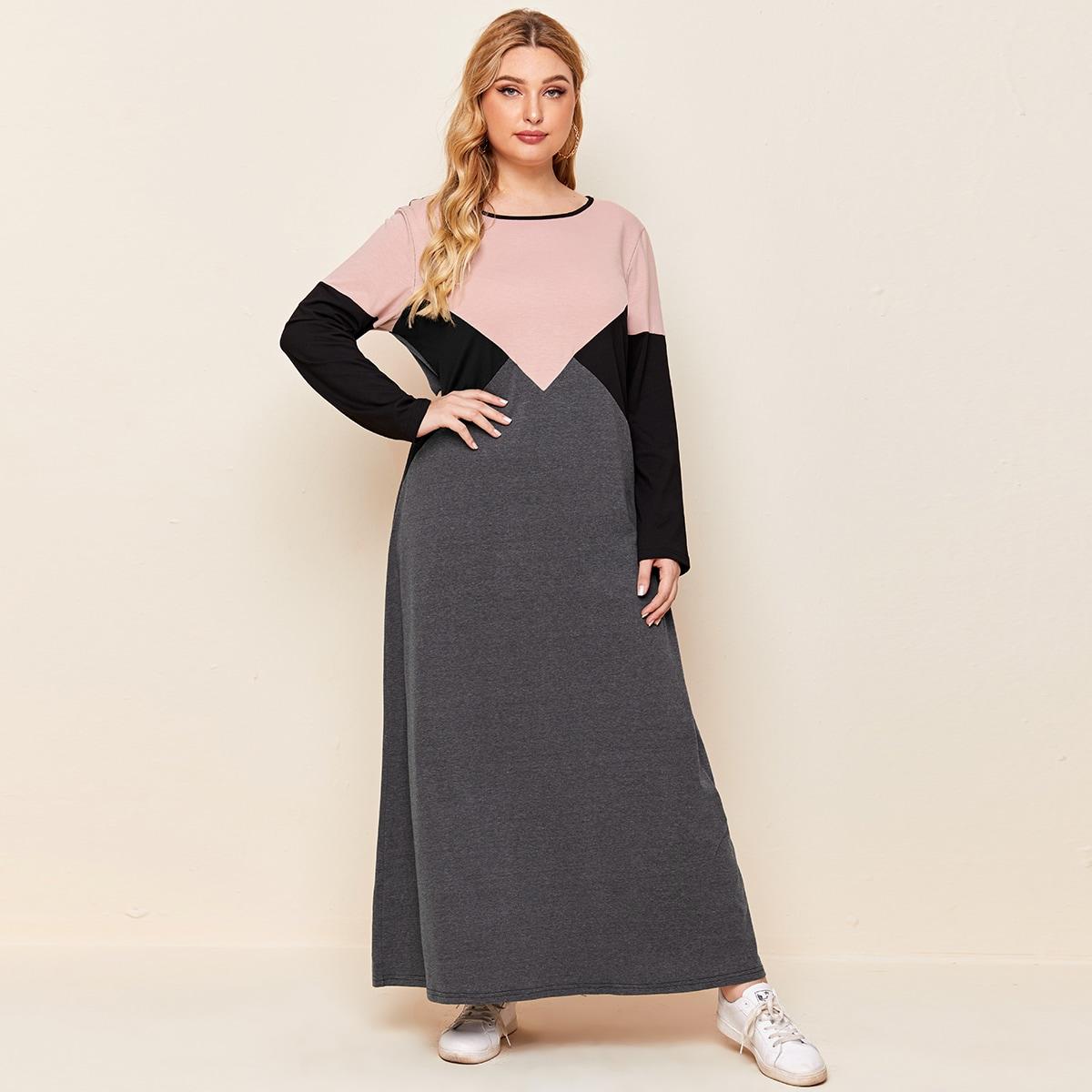Темно-серый Контрастный цвет Повседневный Платья размер плюс