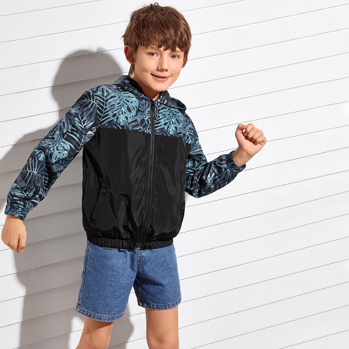 Куртка с капюшоном и тропическим принтом для мальчиков