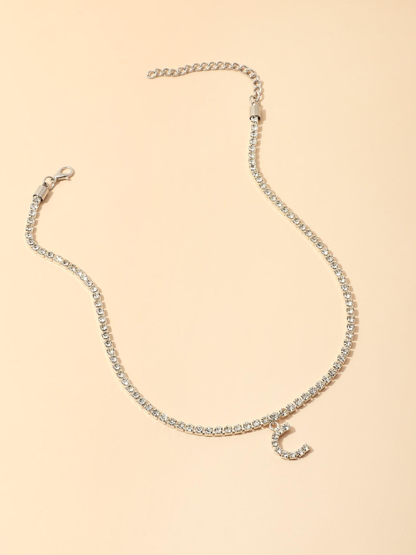 Rhinestone Decor Letter Charm Necklace thumbnail