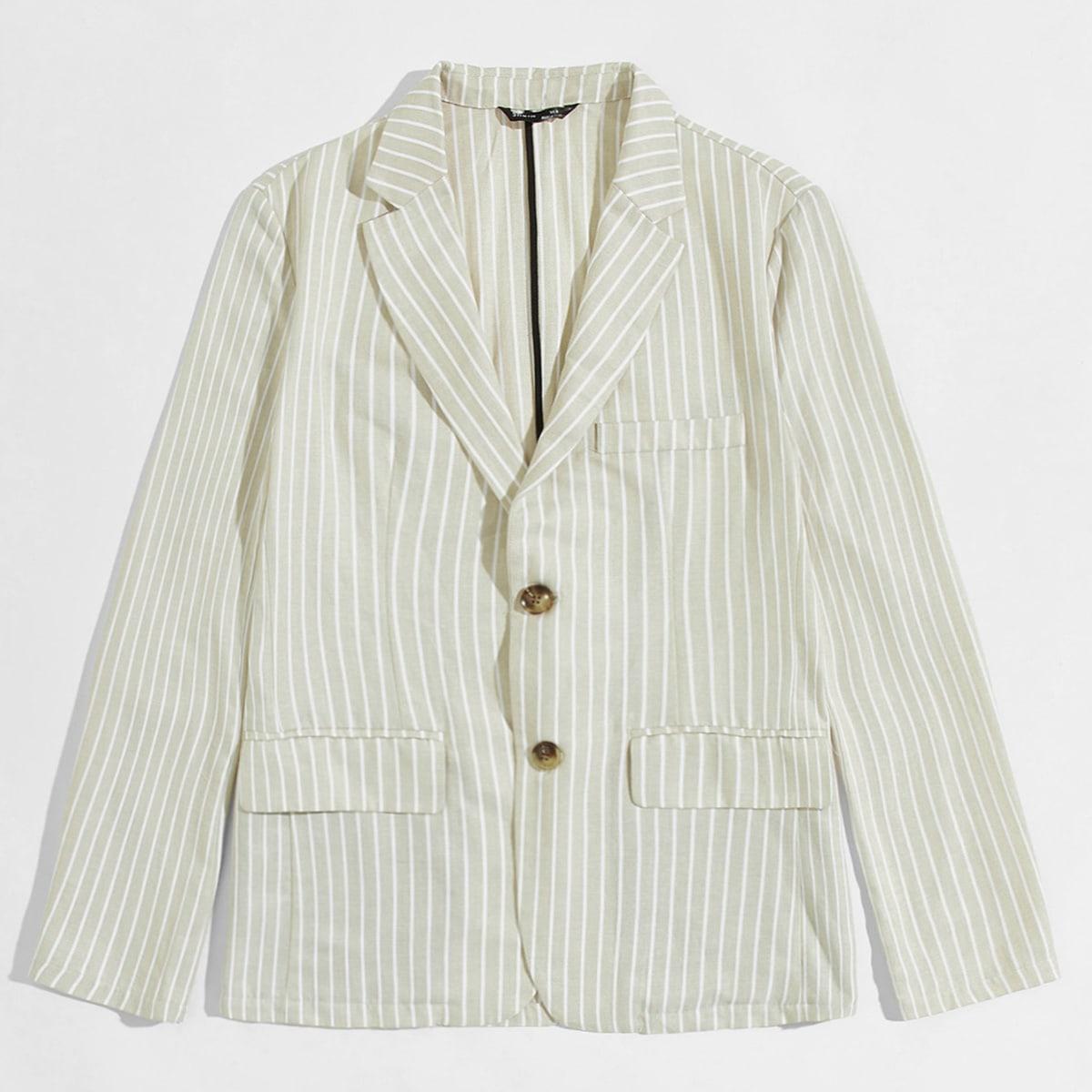 Мужской полосатый пиджак с лацканом