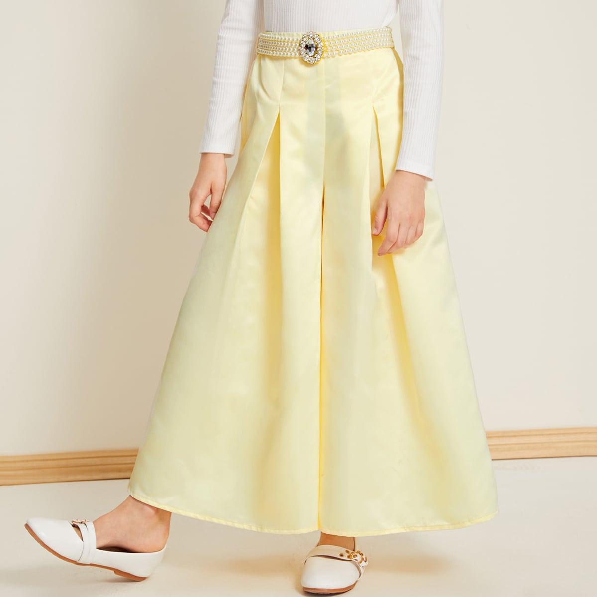 Широкие брюки с поясом для девочек