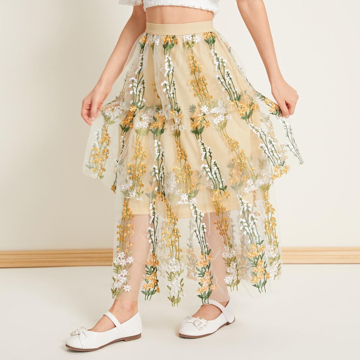 Сетчатая многослойная юбка с вышивкой для девочек