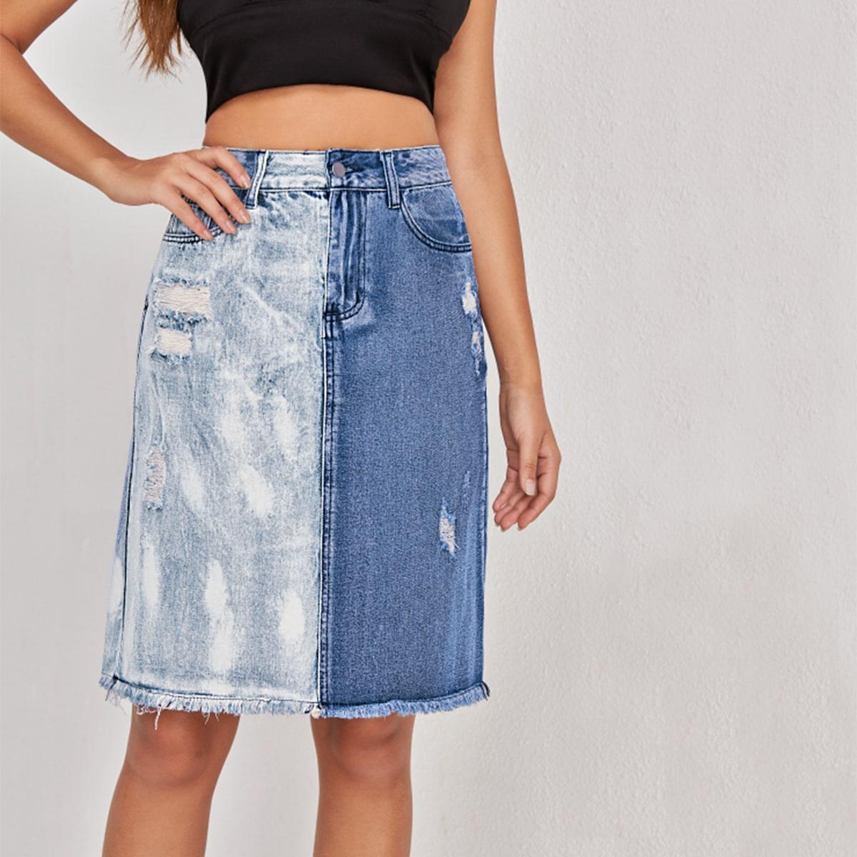 Контрастная рваная джинсовая юбка