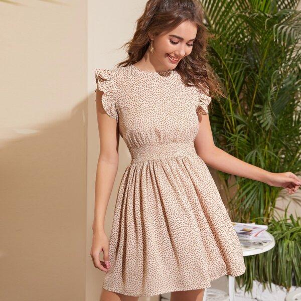 Leaf Print Ruffle Trim Dress, Apricot